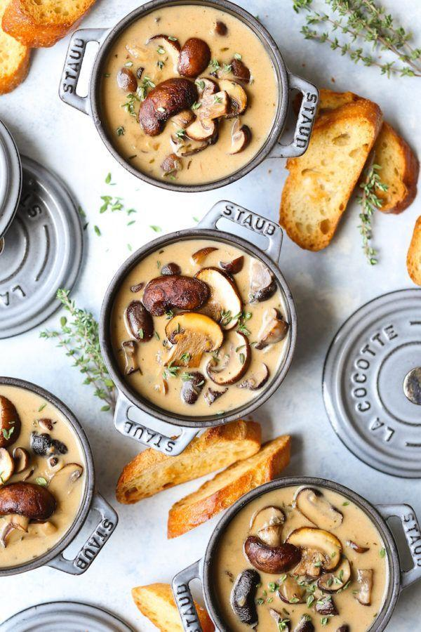 "<p>Described as ""creamy, rich, hearty, and comforting,"" there's really nothing not to love about this meal. We especially like the idea of serving each bowl with a slice of buttery, garlicky bread.</p><p><strong>Get the recipe at <a href=""https://damndelicious.net/2018/12/21/creamy-roasted-mushroom-soup/"" rel=""nofollow noopener"" target=""_blank"" data-ylk=""slk:Damn Delicious"" class=""link rapid-noclick-resp"">Damn Delicious</a>.</strong></p>"