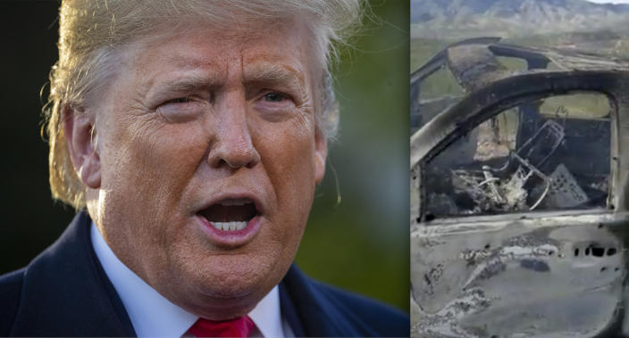 President Trump and the remains of a vehicle transporting a Mormon family living near the U.S.-Mexico border. (Photos: Patrick Semansky/AP, Kenneth Miller/Lafe Langford, Jr. via Reuters)