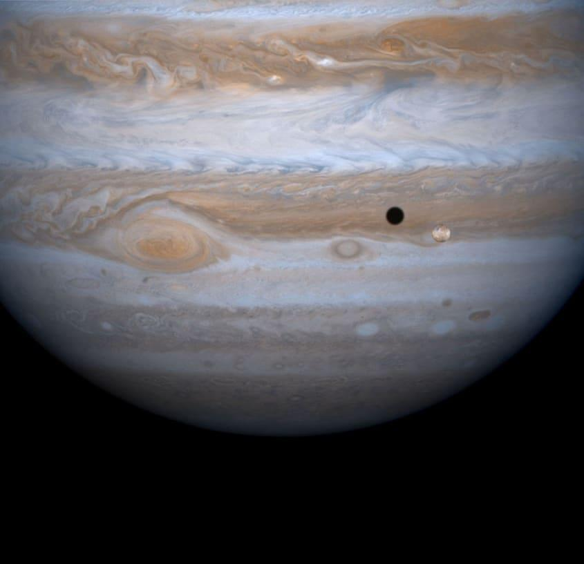 Jupiter and some of its moons.