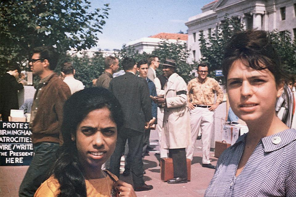 This undated photo provided by the Kamala Harris campaign in April 2019 shows her mother, Shyamala Gopalan, left, and her mother's friend, Lenore Pomerance, during a civil rights protest in Berkeley, Calif.