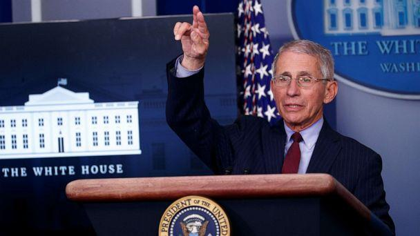 PHOTO: Dr. Anthony Fauci, Director of the National Institute of Allergy and Infectious Diseases, addresses the daily coronavirus response briefing with President Donald Trump at the White House in Washington, March 31, 2020. (Tom Brenner/Reuters)
