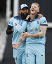 England's Ben Stokes celebrates after taking the wicket of South Africa's Kagiso Rabada during their Cricket World Cup match at the Oval in London, Thursday, May 30, 2019. (AP Photo/Frank Augstein)