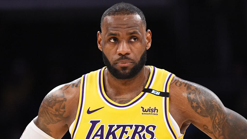 LeBron James' epic three-pointer gave the Lakers a late lead that they managed to hold onto. Pic: Getty