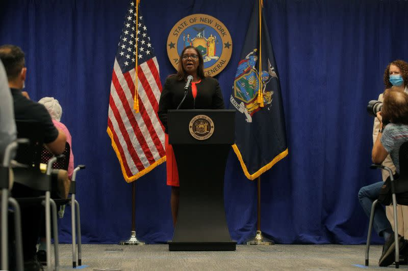 New York State Attorney General, Letitia James, speaks during a news conference, to announce a suit to dissolve the National Rifle Association, In New York