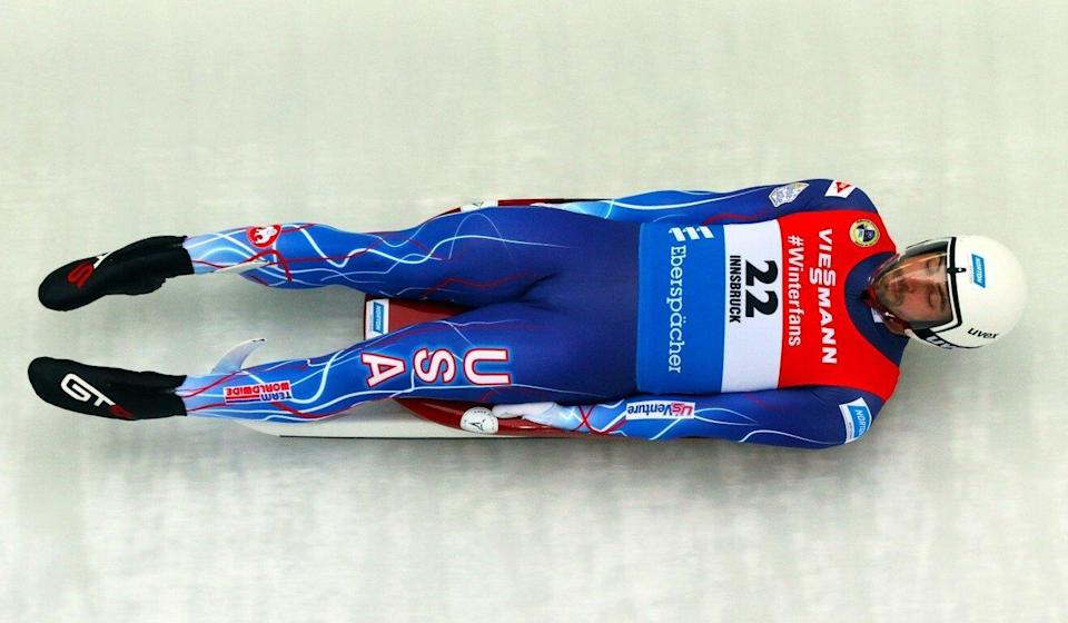 Lugers can hit speeds of up to 80 miles (128 kilometres) an hour on the track, making it the fastest Olympic sport. Pictured, American Chris Mazdzer competing in Austria in 2018. Photo: Fred Zimny/USA Luge