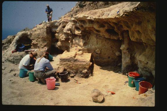 Neanderthals or other extinct human lineages may have sailed to the Mediterranean Islands long before previously thought. Here, an excavation at Akrotiri Aetokremnos, a site in Cyprus dating back to about 10,000 B.C. where pygmy hippo fossils w