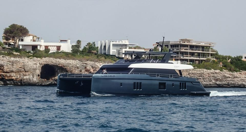 PALMA DE MALLORCA, SPAIN - JULY 09: The new catamaran of Spanish tennis player Rafa Nadal, called 'Great White' is seen sailing on July 09, 2020 in Mallorca, Spain. The model is a '80 Sunreef Power', which is 28 meters long and 12 meters wide, has a capacity for 12 people and is valued 5.5 million Euros.  (Photo by Miquel Benitez/Getty Images)
