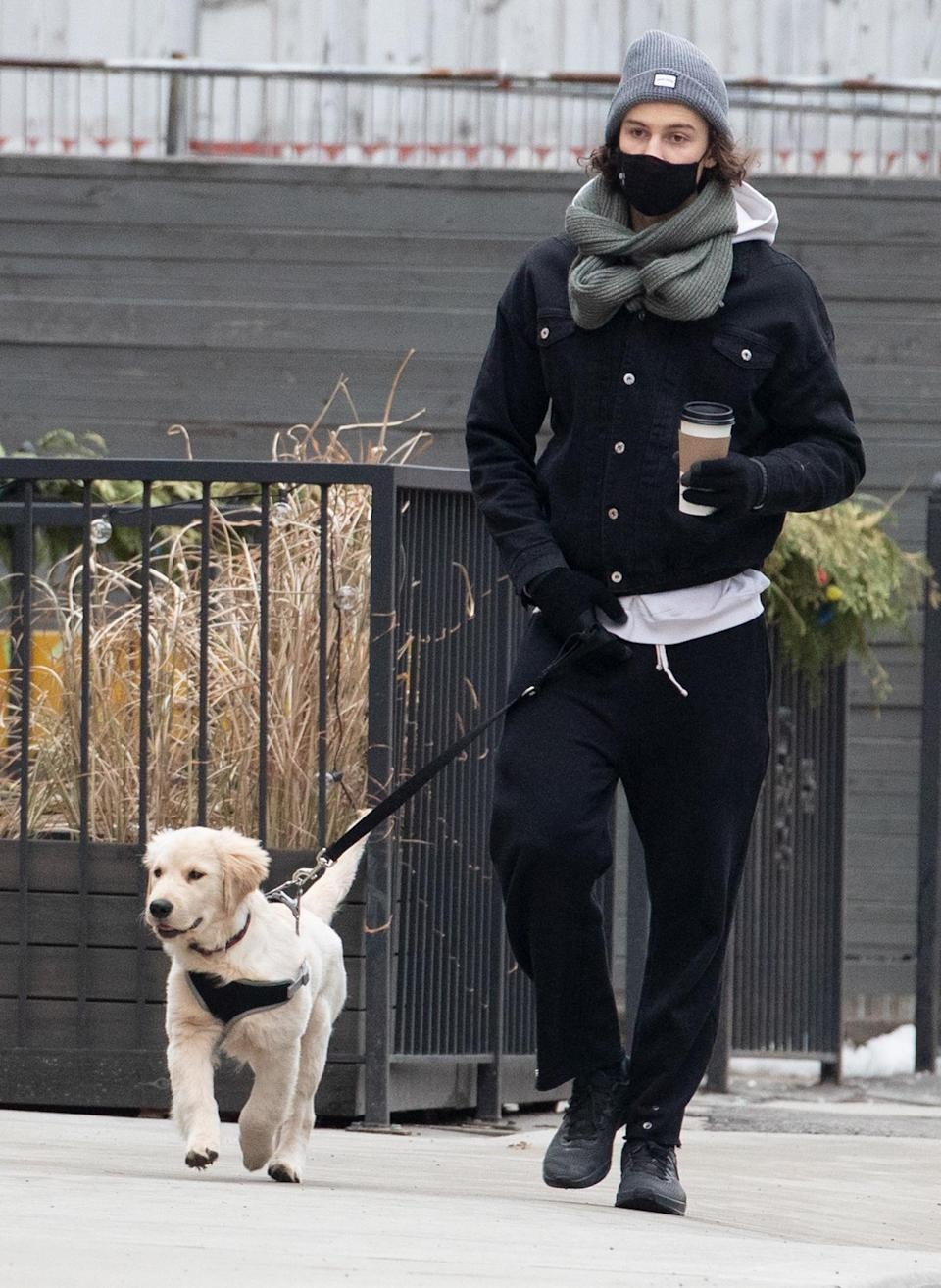 <p>Shawn Mendes has all he needs — coffee and his cute pooch! — in Toronto on Wednesday.</p>