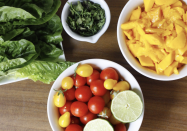 """<p>Having tacos for dinner tonight? Level up your satiety by having this mango lettuce bowl as a starter salad. It's easy to make, and the blend of fresh tomatoes and mango gives the bowl a super refreshing taste. <br></p><p><a class=""""link rapid-noclick-resp"""" href=""""https://sweetsimplevegan.com/2015/05/fully-raw-vegan-cinco-de-mayo-coconut-sugar-rimmed-mango-pina-colada-sweet-jackfruit-berry-tacos-w-mango-banana-chia-sauce-mango-lettuce-taco-boats-raw-low-fat/"""" rel=""""nofollow noopener"""" target=""""_blank"""" data-ylk=""""slk:Get the recipe"""">Get the recipe</a></p><p><em>*Nutritional information not available</em></p>"""