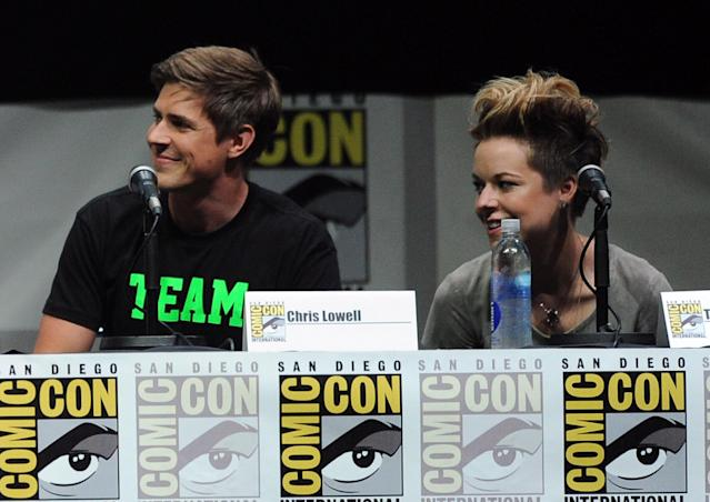 "SAN DIEGO, CA - JULY 19: Actor Chris Lowell (L) and actress Tina Majorino speak onstage at the ""Veronica Mars"" special video presentation and Q&A during Comic-Con International 2013 at San Diego Convention Center on July 19, 2013 in San Diego, California. (Photo by Kevin Winter/Getty Images)"