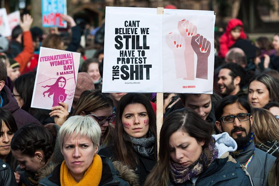 LONDON, UNITED KINGDOM - MARCH 08: Several hundreds of women take part in Women's Strike in London's Russel Square protesting against harassment, exploitation and discrimination experienced by women in and outside of workplace. The protest is part of the global women's movement with demonstrations held in many UK cities and across the globe on International Women's Day. The protesters oppose the decades of economic inequality, racial and sexual violence, global war and terrorism, and express solidarity between women regardless of colour, nationality, class, religion or sexual orientation. March 08, 2018 in London, England. (Photo credit should read Wiktor Szymanowicz / Barcroft Media via Getty Images)