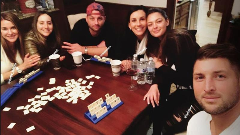 Tim Tebow and Demi-Leigh Nel-Peters with family and friends
