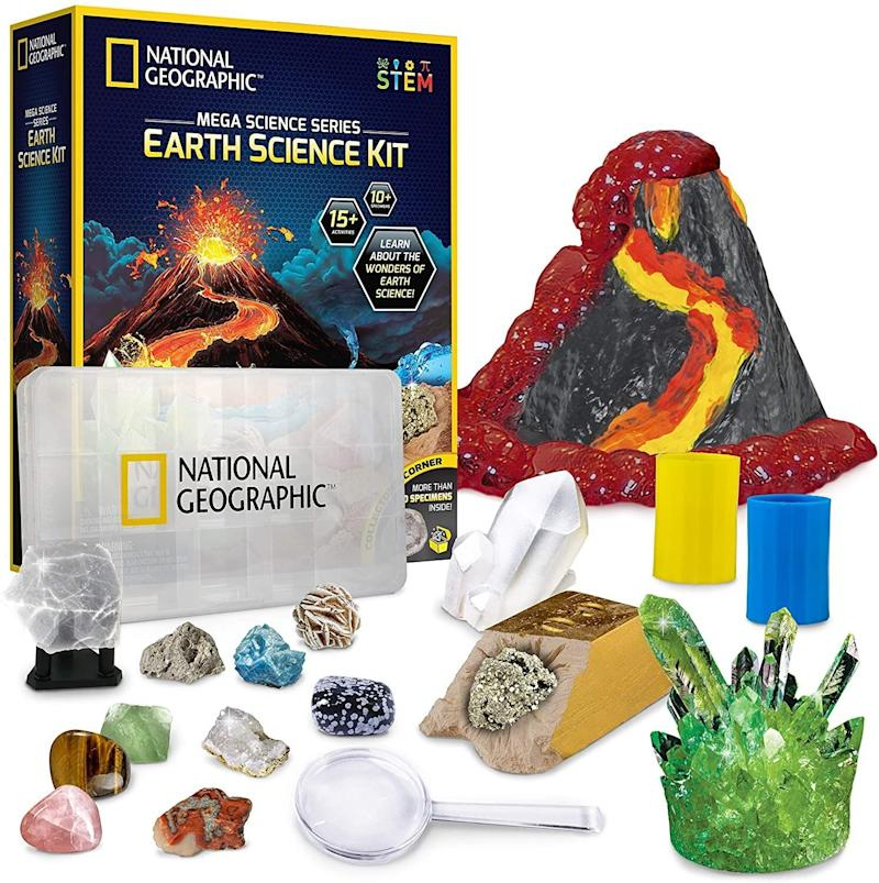 """<a href=""""https://amzn.to/3kOgGsj"""" target=""""_blank"""" rel=""""noopener noreferrer"""">This kit</a> has everything your science-loving kid will need for 15 different experiments. They'll be able to erupt a volcano and grow a crystal from their playroom &mdash; and there are easy-to-follow guides.<a href=""""https://amzn.to/3kOgGsj"""" target=""""_blank"""" rel=""""noopener noreferrer"""">Find it for $30 at Amazon</a>."""