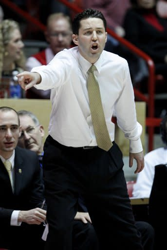 Valparaiso coach Bryce Drew yells to his players during the first half of an NCAA college basketball game against New Mexico at University Arena in Albuquerque, N.M., Saturday, Dec. 8, 2012. (AP Photo/Craig Fritz)