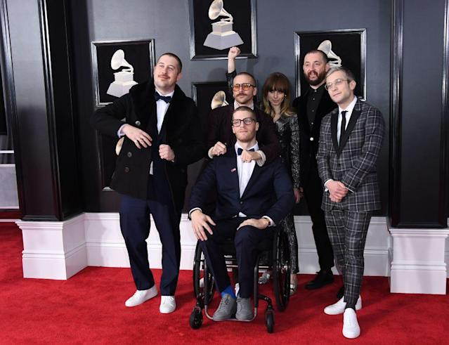 <p>Members of Portugal The Man attend the 60th Annual Grammy Awards at Madison Square Garden in New York on Jan. 28, 2018. (Photo: John Shearer/Getty Images) </p>