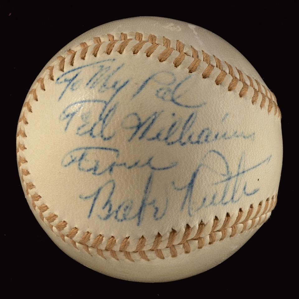 "An inscribed baseball given to Ted Williams by Babe Ruth is valued at $200,000. The ball was the only autograph Williams ever asked for, according to his daughter, and it's inscribed: ""To my pal Ted Williams, From Babe Ruth."" <a target=""_blank"" href=""http://www.huntauctions.com/live/imageviewer.cfm?auction_num=36&lot_num=386&lot_qual="">Click here for more</a>."