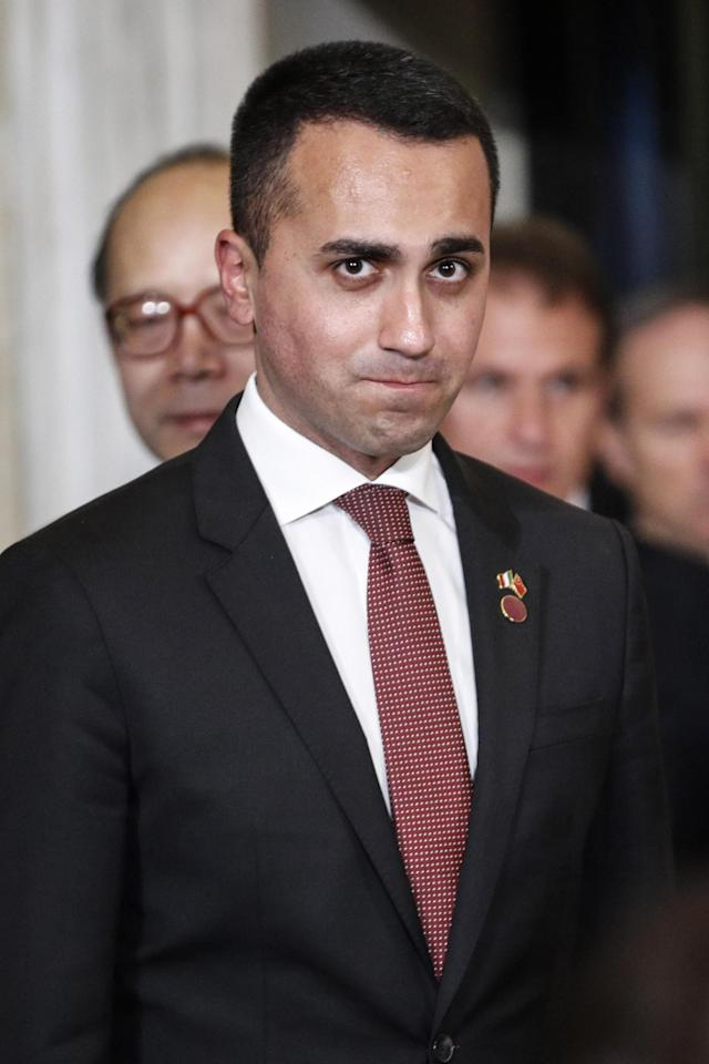 Rome (Italy), 23/03/2019.- Italian vice premier Luigi Di Maio prior the press conference the Villa Madama in Rome, Italy, 23 March 2019. President Xi Jinping is in Italy to sign a memorandum of understanding to make Italy the first Group of Seven leading democracies to join China's ambitious Belt and Road infrastructure project. (Italia, Roma) EFE/EPA/GIUSEPPE LAMI