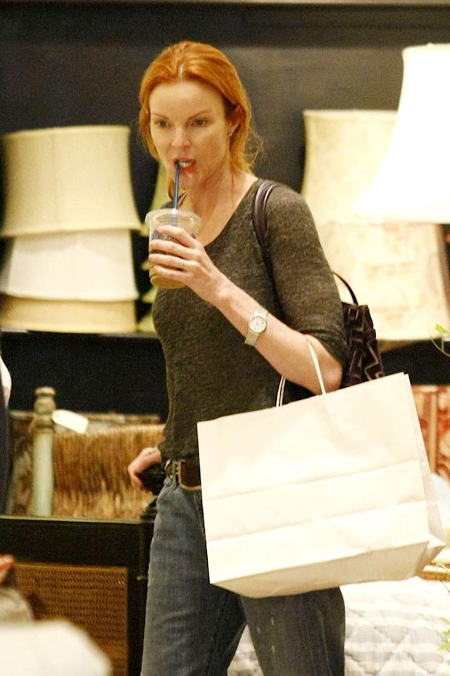 "We're guessing her ""Desperate Housewives"" character Bree would <i>never</i> be caught shopping in jeans and without make-up, but a lovely-looking Marcia Cross seemed to have no problem with it as she browsed in Santa Monica, California. Nathanael Jones/Gaz Shirley/<a href=""http://www.pacificcoastnews.com/"" target=""new"">PacificCoastNews.com</a> - January 10, 2010"
