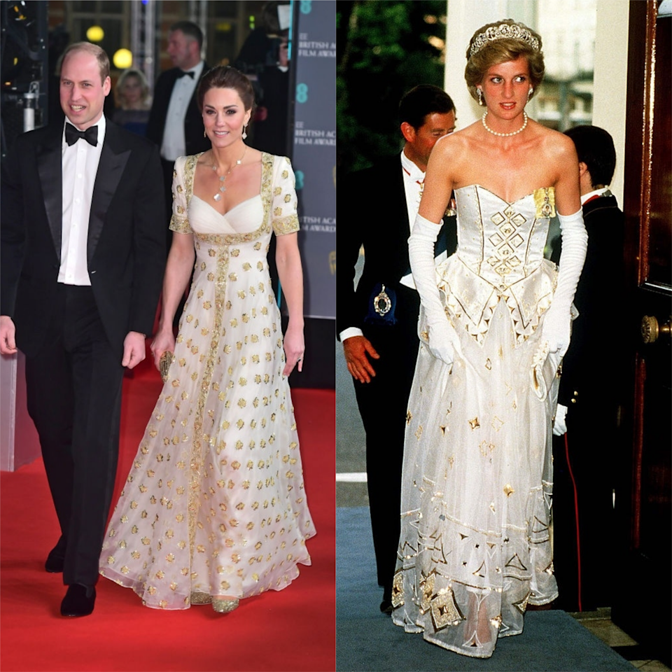 "<p>Mother-of-three Middleton referenced her husband's late mother once more at 2020's BAFTA awards. The 38 year-old wore a <a href=""https://www.elle.com/uk/fashion/a30742127/kate-middleton-baftas/"" target=""_blank"">white and gold Alexander McQueen dress</a> (previously worn by the Duchess in 2012) that resembled Lady Diana Spencer's own dress in the same colour palette that she wore to the German Embassy in 1986.</p>"