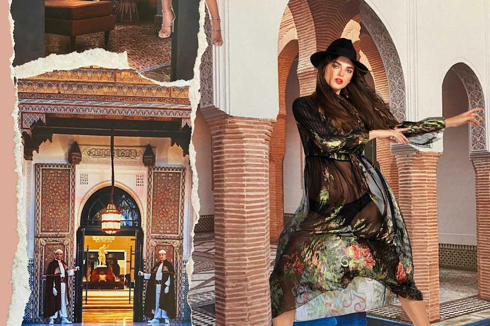 A model wears a sheer coverup and a black hat superimposed over photos of La Mamounia Hotel