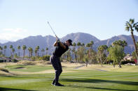 Brandon Hagy hits from the 17th tee during the first round of The American Express golf tournament on the Nicklaus Tournament Course at PGA West, Thursday, Jan. 21, 2021, in La Quinta, Calif. (AP Photo/Marcio Jose Sanchez)