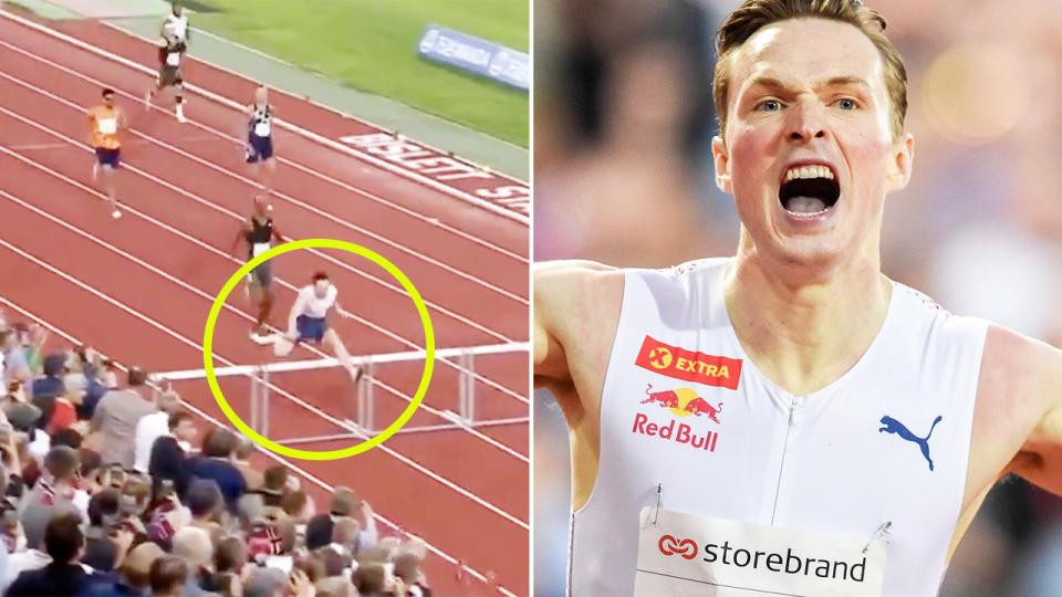 Karsten Warholm, pictured here breaking the 400m hurdles world record.