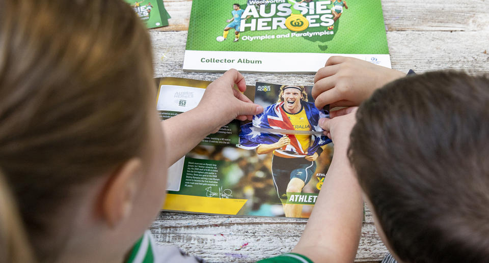 Woolworths Aussie Heroes Olympic and Paralympic sticker book. 25th June 2021. Photograph Dallas Kilponen/Woolworths