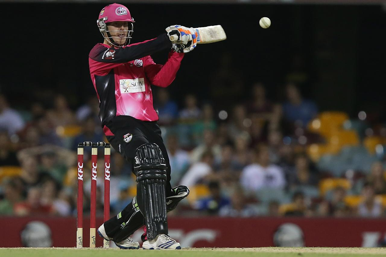 BRISBANE, AUSTRALIA - JANUARY 07:  Daniel Hughes of the Sixers bats during the Big Bash League match between the Brisbane Heat and the Sydney Sixers at The Gabba on January 7, 2013 in Brisbane, Australia.  (Photo by Chris Hyde/Getty Images)