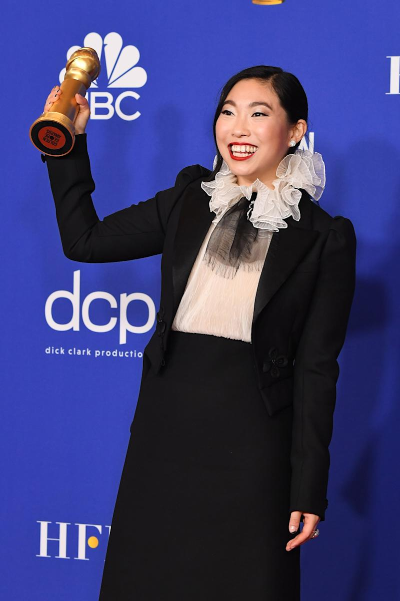 BEVERLY HILLS, CALIFORNIA - JANUARY 05: Awkwafina poses in the press room during the 77th Annual Golden Globe Awards at The Beverly Hilton Hotel on January 05, 2020 in Beverly Hills, California. (Photo by Steve Granitz/WireImage,)