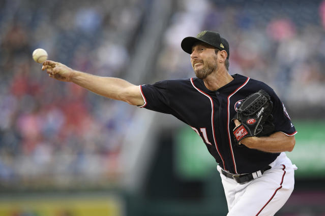 Washington Nationals starting pitcher Max Scherzer delivers during the first inning of a baseball game against the Chicago Cubs, Friday, May 17, 2019, in Washington. (AP Photo/Nick Wass)