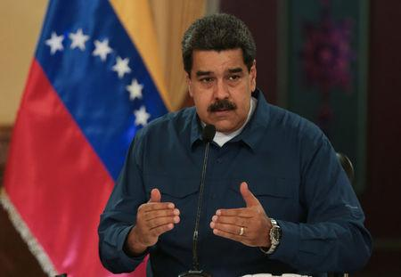 Venezuela's President Nicolas Maduro speaks during a meeting with ministers at the Miraflores Palace in Caracas