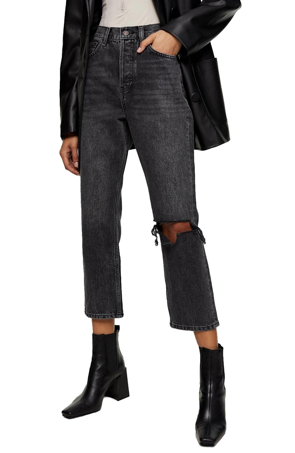 <p>Welcome back the return to denim with these <span>Topshop Chicago Editor Nonstretch High Waist Ripped Crop Jeans</span> ($64, originally $95).</p>
