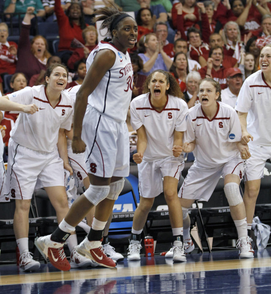 Stanford forward Nnemkadi Ogwumike (30) reacts to a basket and foul call during the second half of an NCAA women's basketball tournament second-round game against West Virginia in Norfolk, Va., Monday, March 19, 2012. Stanford won 72-55. (AP Photo/Steve Helber)