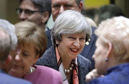 British Prime Minister Theresa May attends the EU summit in Brussels