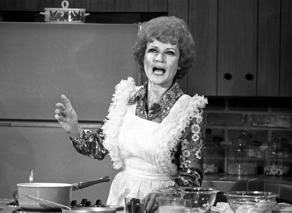 """<p>In 1973, White appeared on <em>The Mary Tyler Moore Show</em> several times as a guest star — here, she's pictured in the episode """"The Lars Affair."""" White had a regular recurring role as Sue Ann Nivens. <a href=""""https://clevelandmagazine.com/entertainment/film-tv/articles/hot-shots-betty-white"""" rel=""""nofollow noopener"""" target=""""_blank"""" data-ylk=""""slk:She has said"""" class=""""link rapid-noclick-resp"""">She has said</a> that Sue Ann is one of the roles she's proudest of.<br></p>"""
