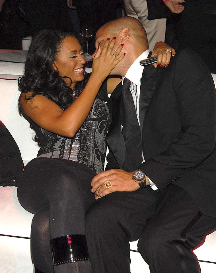 """Scary Spice"" Mel B and her new hubby Stephen Belafonte are caught canoodling on a couch at the after party. Mel is looking better than ever since her runner-up stint on ""Dancing With the Stars."" Kevin Mazur/<a href=""http://www.wireimage.com"" target=""new"">WireImage.com</a> - November 15, 2007"