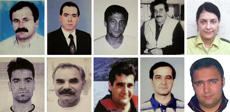 FILE - This combination image of handout pictures released by the federal criminal Police Office ( BKA) shows undated file photos of victims of the far right terror group NSU . top from left: Enver Simsek, Abdurrahim Ozudogru, Suleyman Taskopru, Habil Kilic and police woman Michele Kiesewetter and bottom from left : Mehmet Turgut, Ismail Yasar, Theodorus Boulgarides, Mehmet Kubasik und Halit Yozgat. Beate Zschaepe, the sole survivor of a neo-Nazi group _ the self-styled National Socialist Underground _ blamed for ten killings goes on trial Monday, May 6, 2013 in Munich, along with four men alleged to have helped the killers in various ways. Beate Zschaepe, 38, is charged with complicity in the murder of eight Turks, a Greek and a policewoman. She is also accused of involvement in at least two bombings and 15 bank robberies carried out by her accomplices Uwe Mundlos and Uwe Boenhardt, who died in an apparent murder-suicide two years ago. (AP Photo/dpa)EARLY RISER FOR FRIDAY MAY 3 2013 -