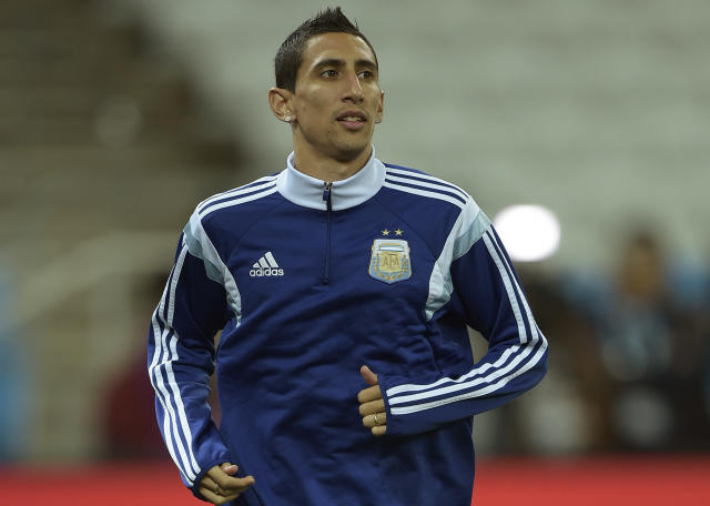 Argentina's midfielder Angel Di Maria takes part in a training session at the Arena de Sao Paulo Stadium, on July 8, 2014 (AFP Photo/Juan Mabromata)