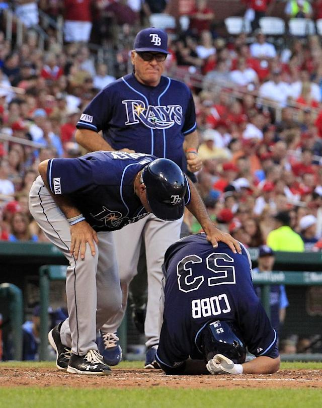 Tampa Bay Rays' Alex Cobb (53) is checked on by third base coach Tom Foley and manager Joe Maddon, top, after being hit on the right arm by a pitch during the fourth inning of a baseball game against the St. Louis Cardinals, Wednesday, July 23, 2014, in St. Louis. Cobb was able to stay in the game. (AP Photo/Jeff Roberson)