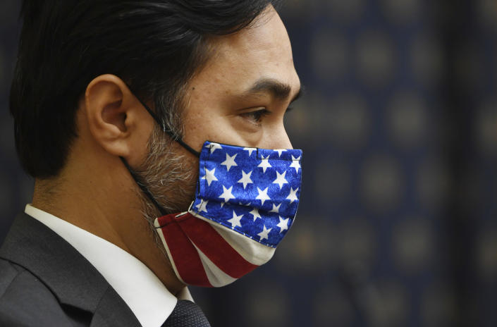 Vice Chair Rep. Joaquin Castro, D-Texas, wears a face mask during a House Committee on Foreign Affairs hearing looking into the firing of State Department Inspector General Steven Linick, Wednesday, Sept. 16, 2020 on Capitol Hill in Washington. (Kevin Dietsch/Pool via AP)