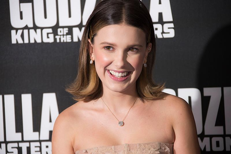 Millie Bobby Brown Goes Glam in Lacy Blush Gown at 'Godzilla