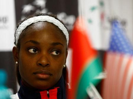 Tennis - Fed Cup - Belarus v United States - Team U.S. news conference - Minsk, Belarus, November 8, 2017 - Sloane Stephens of the U.S. attends a news conference before the final against Belarus. REUTERS/Vasily Fedosenko
