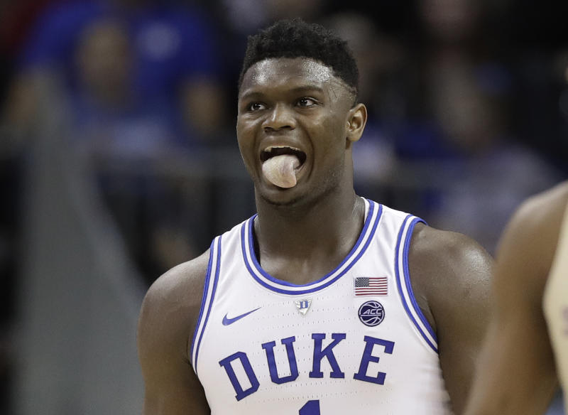 Duke's Zion Williamson (1) reacts during the second half against Florida State in the NCAA college basketball championship game of the Atlantic Coast Conference tournament in Charlotte, N.C., Saturday, March 16, 2019. (AP Photo/Chuck Burton)