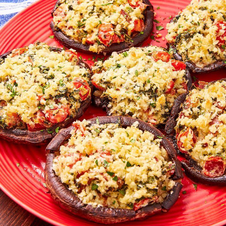 """<p>This is our take on the classic stuffed portobello mushrooms. It's simple yet insanely delicious. Cream cheese, bacon, and spinach make a classic combo while tomatoes add a pop of freshness. The buttery panko topping just puts it over the top! </p><p>Get the <a href=""""https://www.delish.com/uk/cooking/recipes/a30451382/stuffed-portobello-mushrooms-recipe/"""" rel=""""nofollow noopener"""" target=""""_blank"""" data-ylk=""""slk:Stuffed Portobello Mushrooms"""" class=""""link rapid-noclick-resp"""">Stuffed Portobello Mushrooms</a> recipe.</p>"""