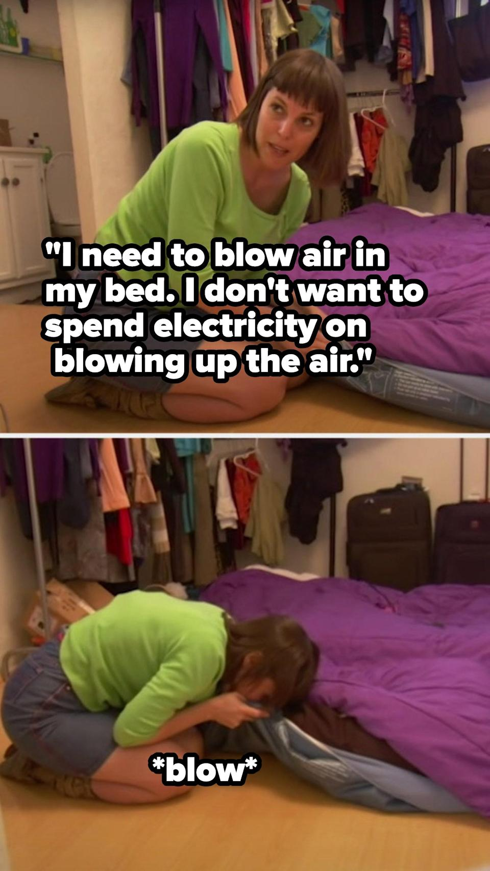 A woman blowing up her air mattress with her mouth