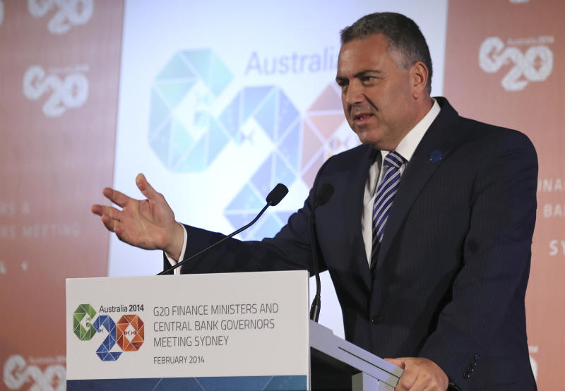 Australia's Treasurer Joe Hockey delivers a closing statement to the media during a press conference at the G-20 Finance Ministers and Central Bank Governors meeting in Sydney, Australia, Sunday, Feb. 23, 2014.(AP Photo/Rob Griffith)
