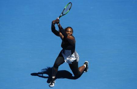 Tennis - Australian Open - Melbourne Park, Melbourne, Australia - 25/1/17 Serena Williams of the U.S. hits a shot during her Women's singles quarter-final match against Britain's Johanna Konta. REUTERS/Jason Reed