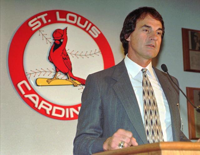 FILE - In this Oct. 23, 1995 file photo, Tony La Russa makes a statement after being named manager of the St. Louis Cardinals, in St. Louis. Three days after winning the World Series, La Russa is retiring. The 67-year-old manager announced his retirement at a news conference Monday, Oct. 31, 2011 at Busch Stadium in St. Louis.(AP Photo/James A. Finley, File)