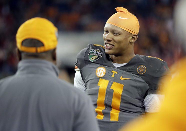 The Steelers took Joshua Dobbs in the fourth round of the NFL draft. (AP)