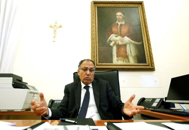President of the Vatican's Financial Information Authority (AIF) Carmelo Barbagallo gestures during an interview